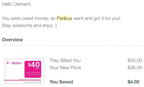 A successful claim with Paribus