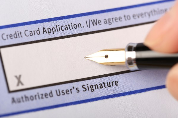 Authorized user's signature for credit card