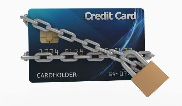 Credit card with chains and padlock