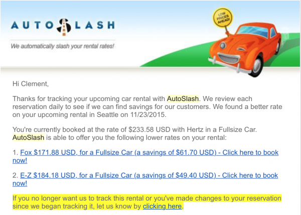 Autoslash email: found lower rate