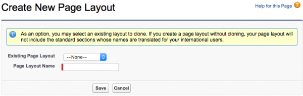 Salesforce: create new group page layout