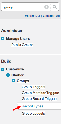 Salesforce: setup group record types