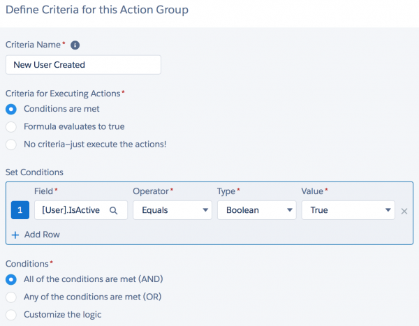 Salesforce: Process Builder — Criteria for Adding New Users to a Group